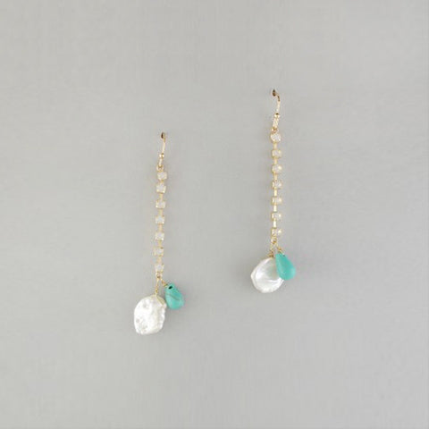 Pearl and Turquoise Dangly Earrings