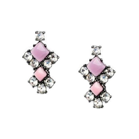 Pink and Purple Rhinestone Earrings