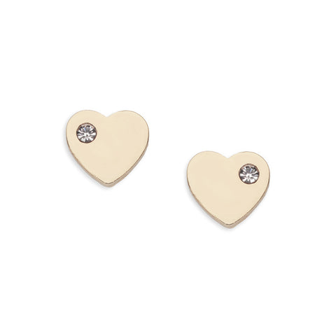Gold Heart Stud Earrings with Rhinestone Detail