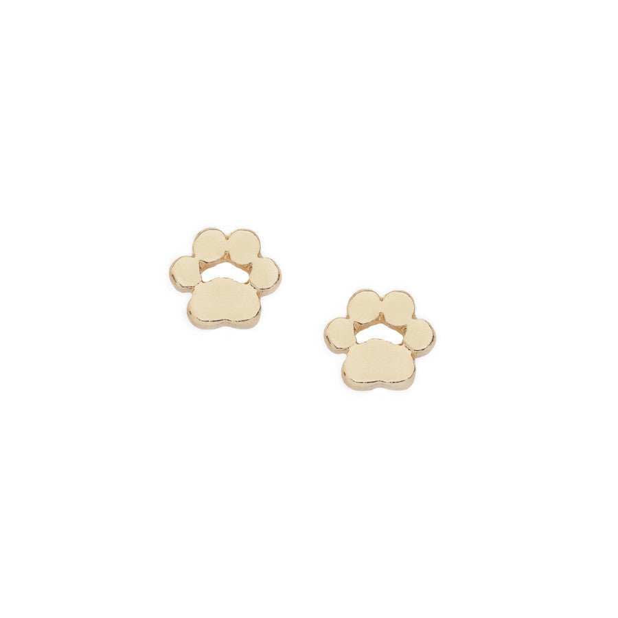 Dainty Gold Paw Print Stud Earrings