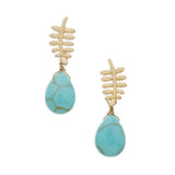 Twig Drop Earrings in Turquoise