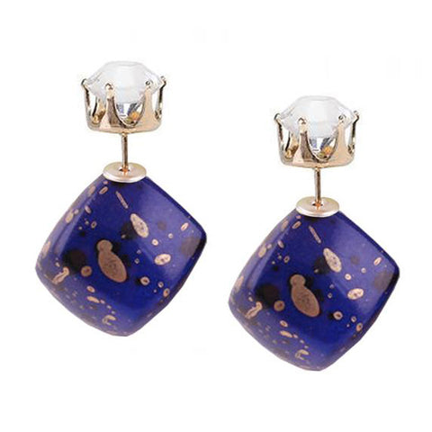 Navy and Gold Double Sided Stud Earrings