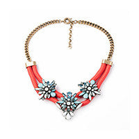 Red Rope Statement Necklace with Floral Pendants