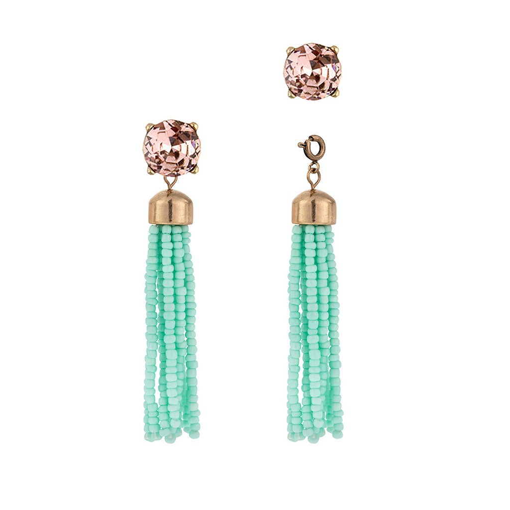 Convertible Teal Beaded Tassel Earrings with Pink Vintage Studs