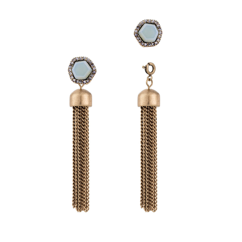 Convertible Chain Tassel Earrings with Light Blue Studs