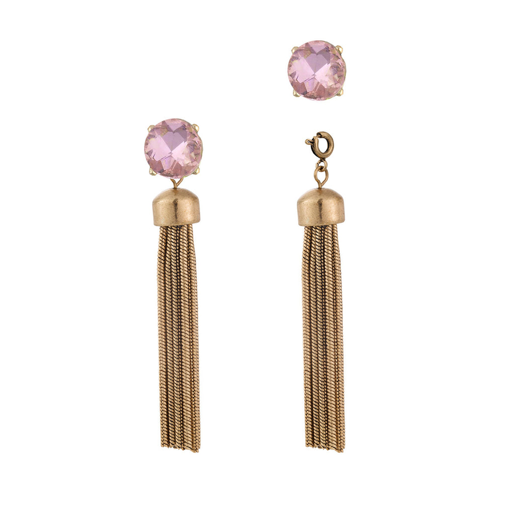 Convertible Metal Tassel Earrings with Pink Gem Studs
