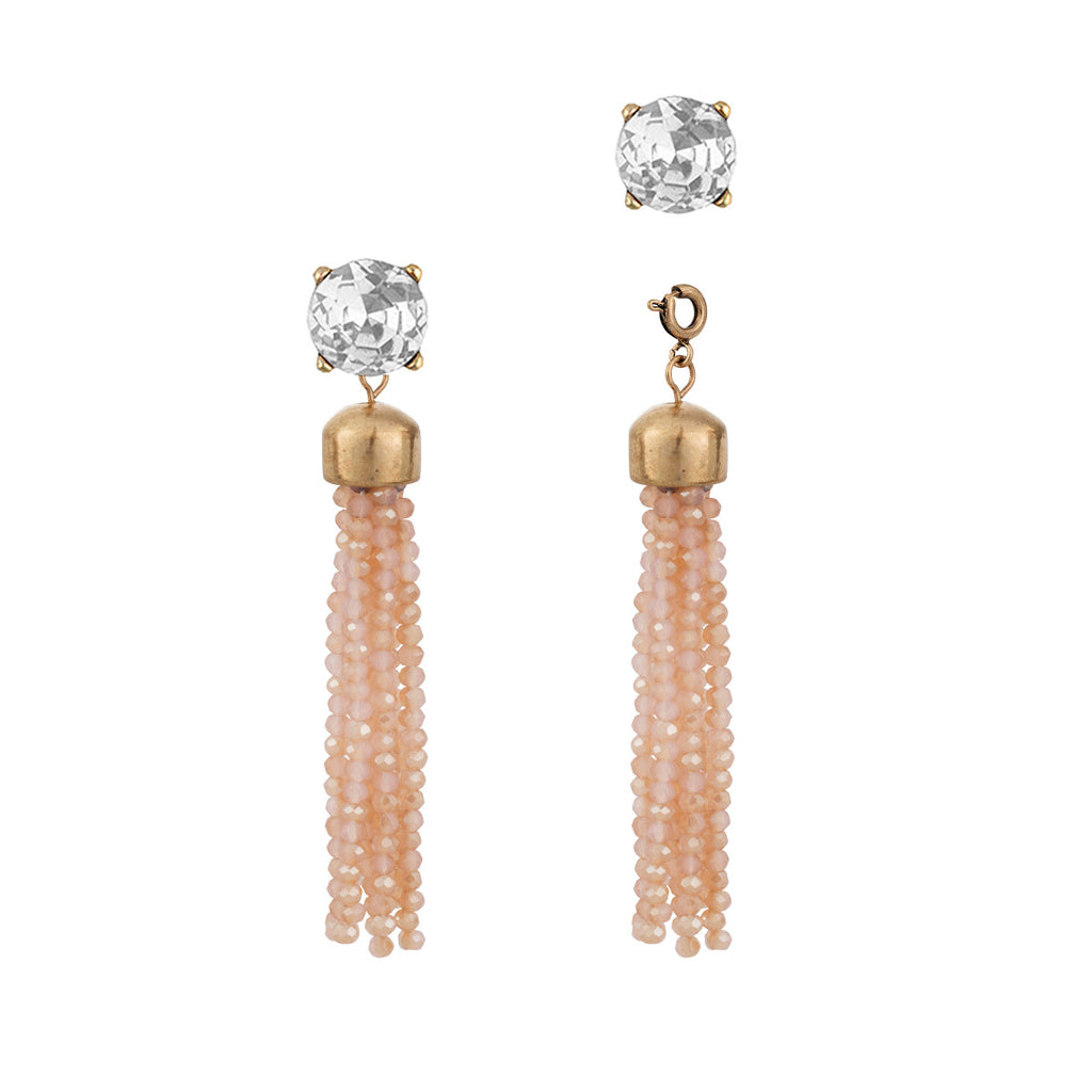 Convertible Pink Czech Tassel Earrings with Clear Studs