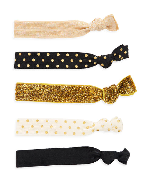 Hair Tie Set in Black & Gold
