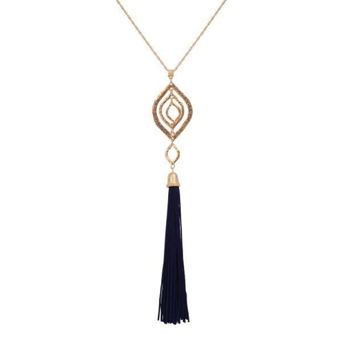 Gold Pendant Necklace with Long Black Fabric Tassel