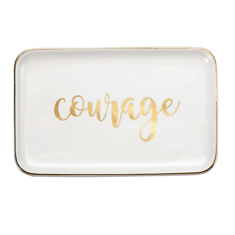 Courage Ceramic Jewelry Dish