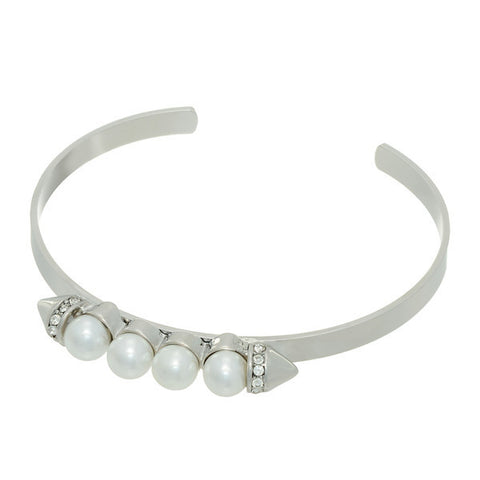 Pearl Spike Stackable Bangle Bracelet - Silver