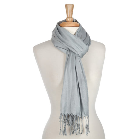 Fringe Open Scarf - Grey