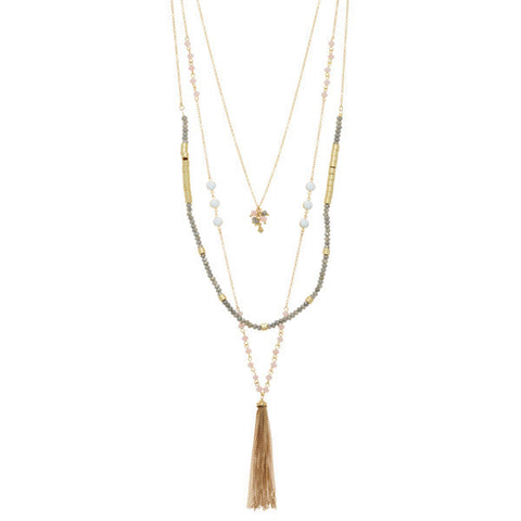 Grey and Gold Layered Beaded Necklace with Gold Tassel