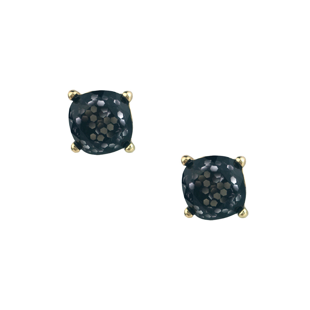 Black Glitter Stud Earrings