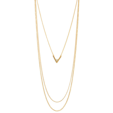 Gold Layered Necklace with V  Rhinestone Pendant