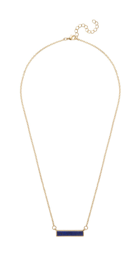 Delicate Navy Bar Necklace