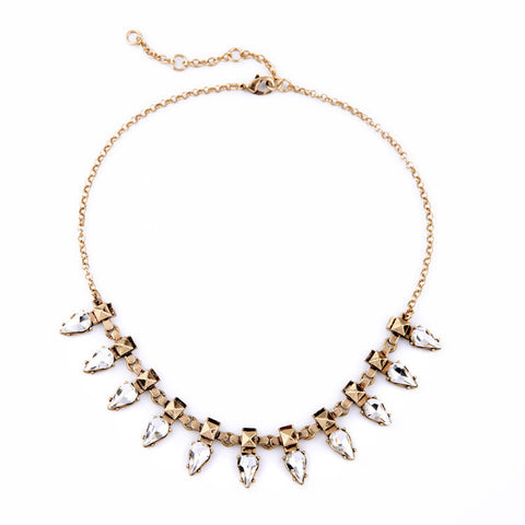Gold and Rhinestone Spike Statement Necklace