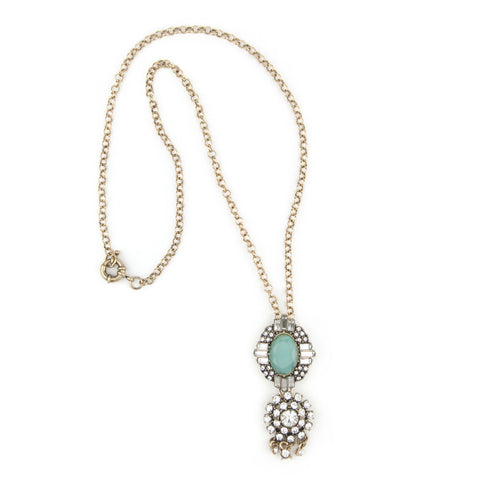 Handmade Teal Pendant Necklace with Rhinestone Details
