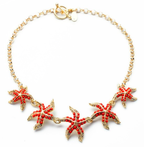 Coral Starfish Gold Statement Necklace