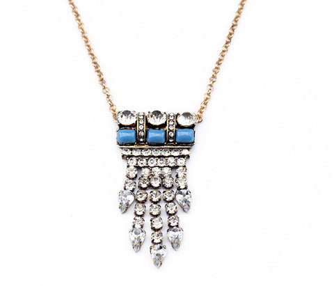 Blue and crystal chandelier pendant necklace