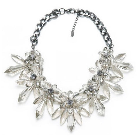 Large Clear Floral Detailed Statement Necklace