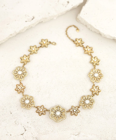 Gold and Crystal Floral statement necklace