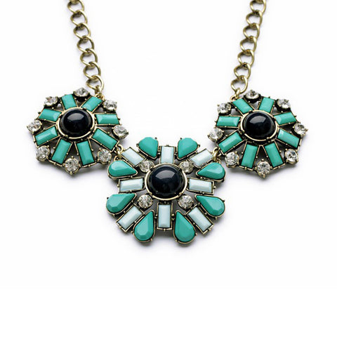 Geometric Teal and Blue Gems Statement Necklace