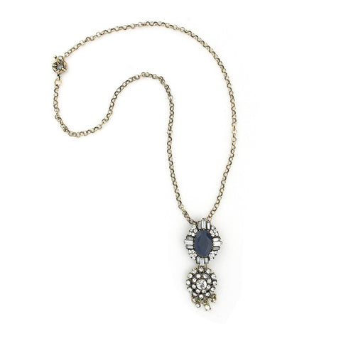 Handmade Blue Pendant Necklace with Rhinestone Details
