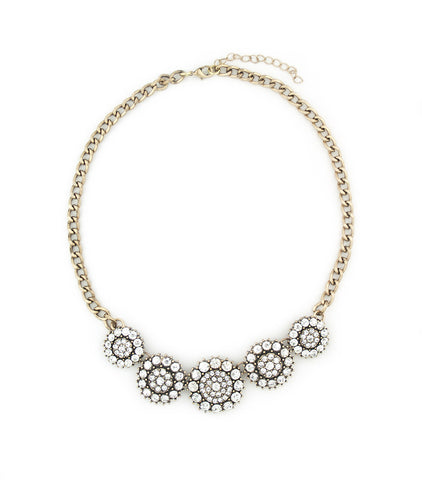 Round Floral Crystal Rhinestone Necklace