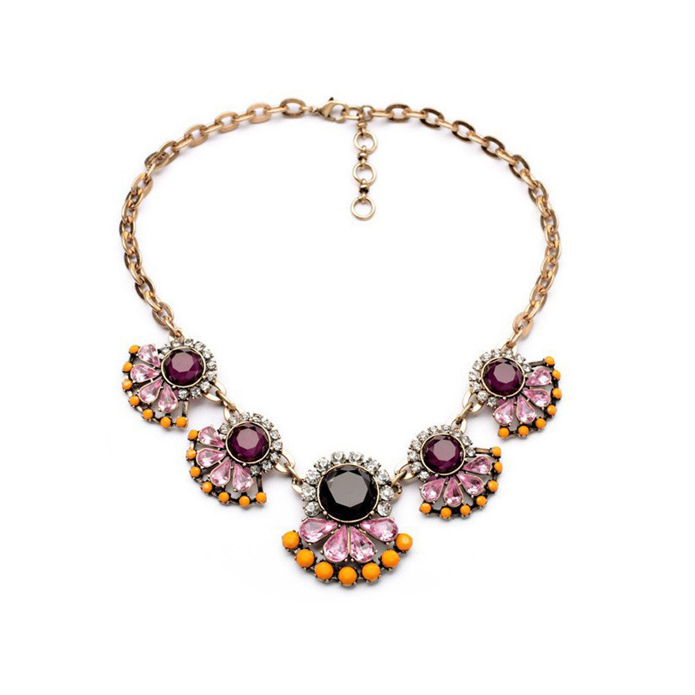 Bold Purple and Orange Floral Statement Necklace