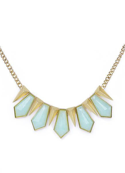 Mint Geometric Pendant Statement Necklace