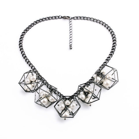 Geometric Cube Statement Necklace with Pearl Details