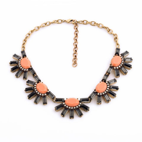 Black and Pink Flower Statement Necklace