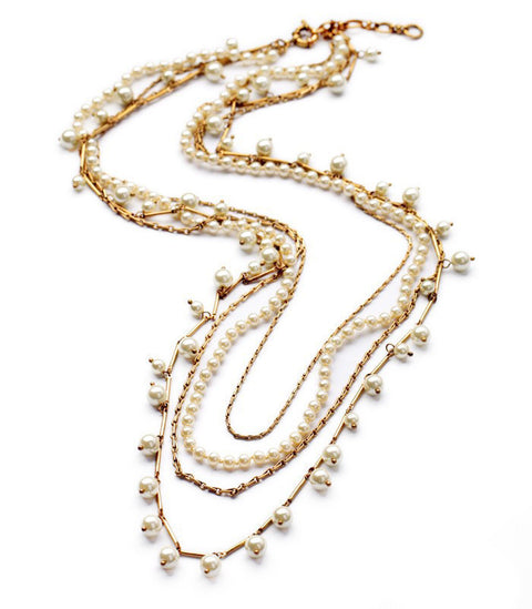 Multi Chain gold and Pearl Necklace Set