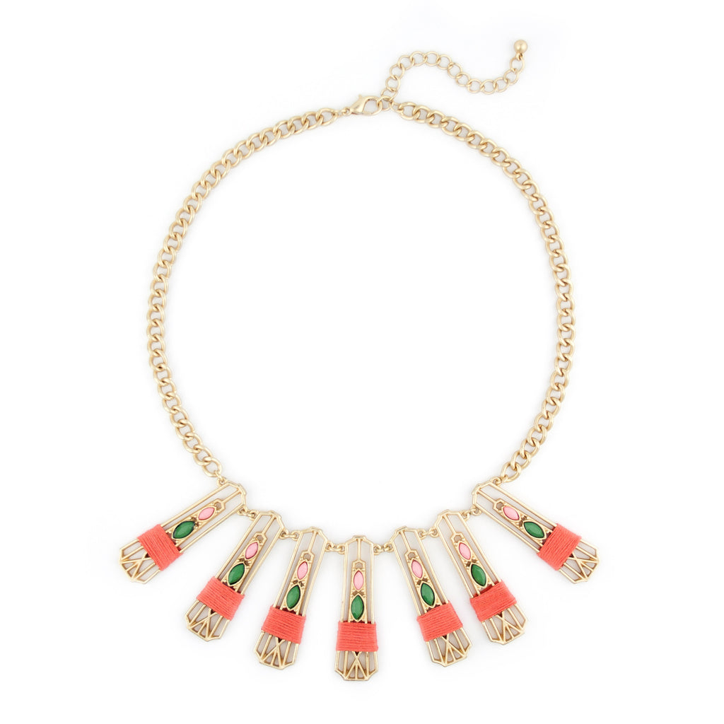 Gold and Coral Statement Necklace with Green