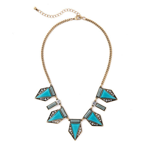 Geometric Teal and Grey Pendants Necklace