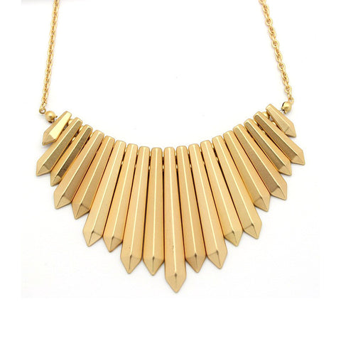 Gold Spike Bib Statement Necklace