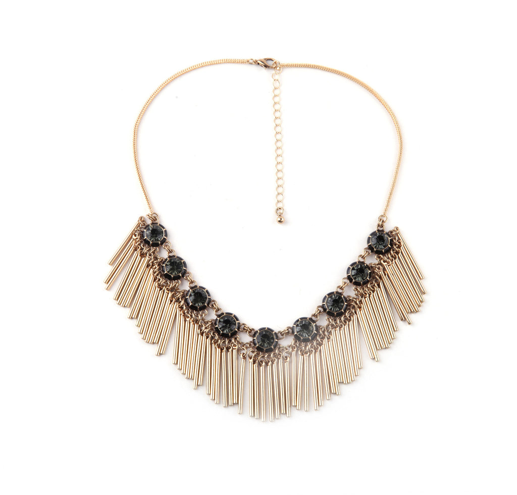 Grey Stones with Metal Fringe Statement Necklace