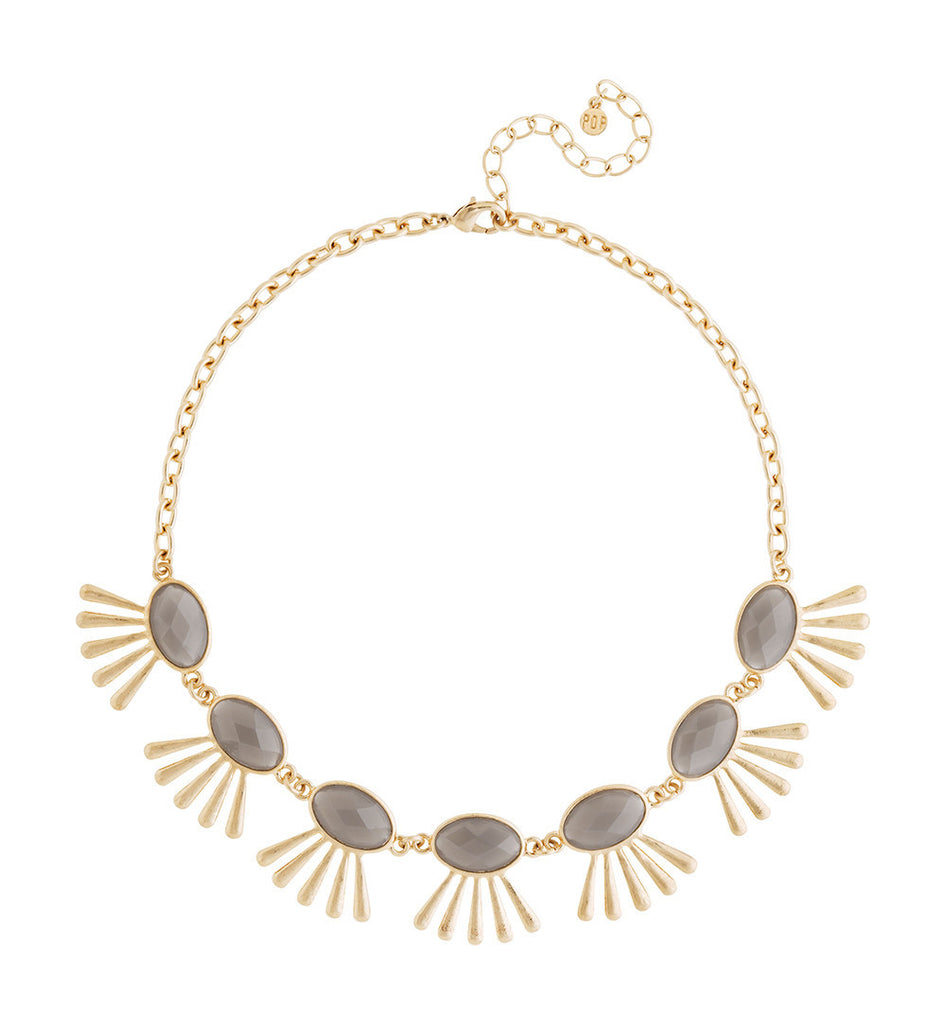 Grey and Gold Faceted Statement Necklace