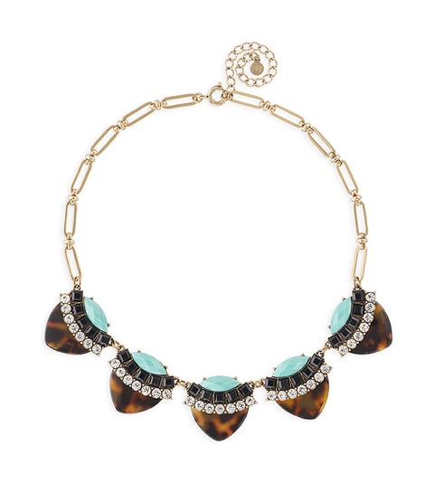 Tortoiseshell Petal Necklace with Teal Accents