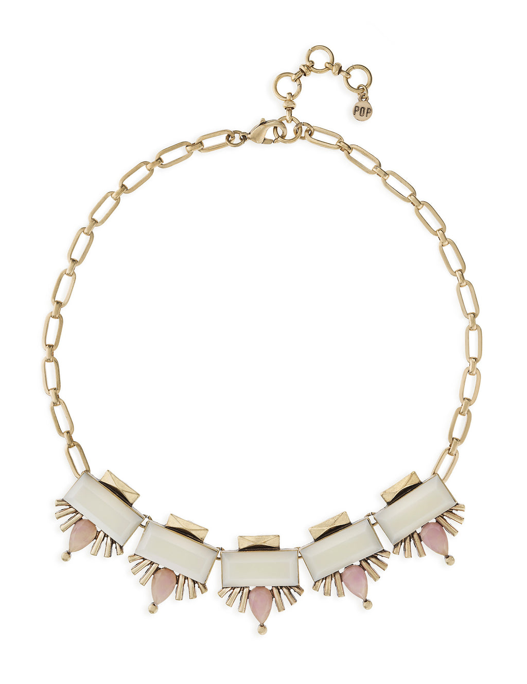 White and Pink Stone Necklace with Gold Chain