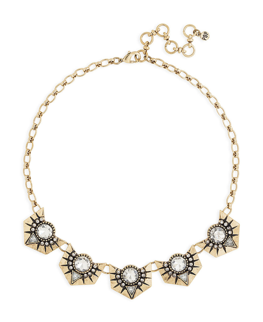 Gold and Clear Chain Statement Necklace