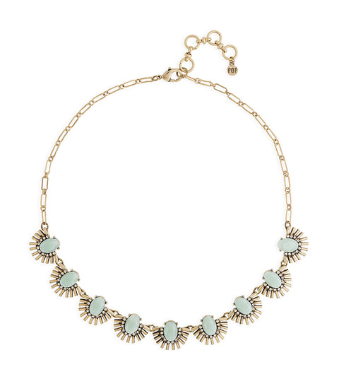 Mint and Gold Floral Statement Necklace