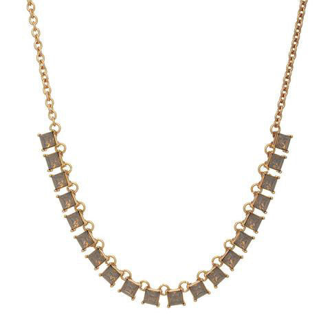 Square Opal Rhinestone Necklace - Grey