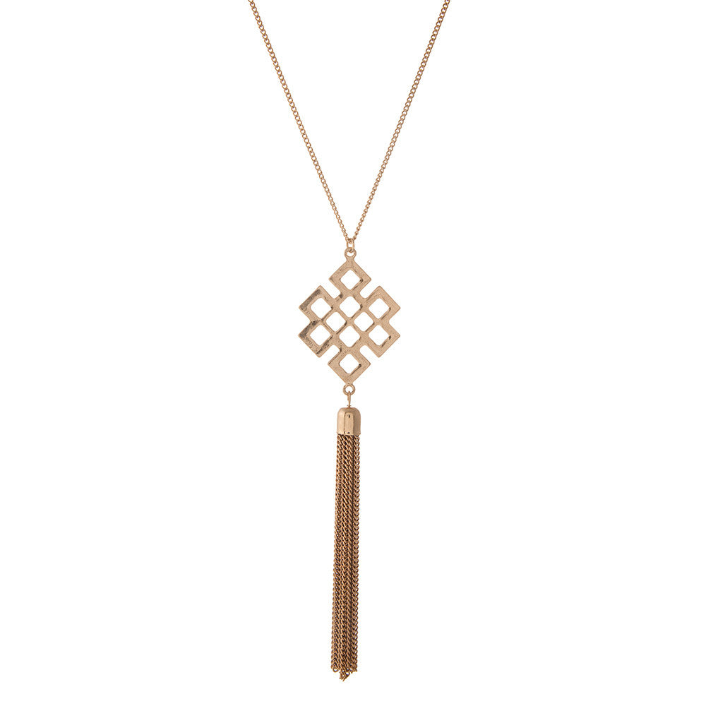 Geometric Gold Pendant with Chain Tassel