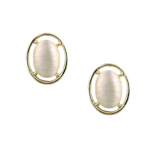 White and gold bridal studs