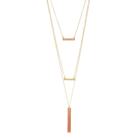 York Layered Necklace Set in Pink