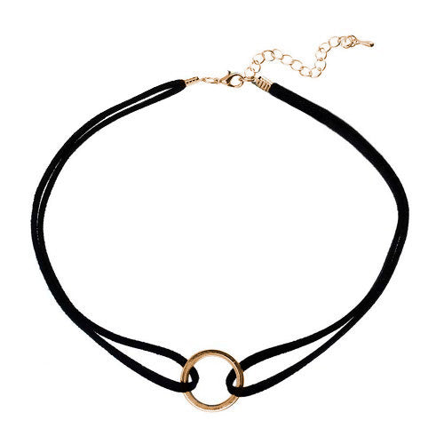 Simple Black Choker with Gold Circle Detail