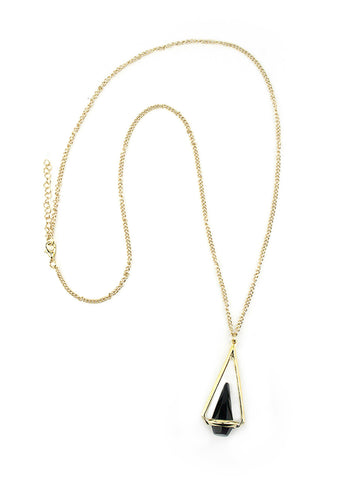 Geometric Black Pendant on Gold Chain