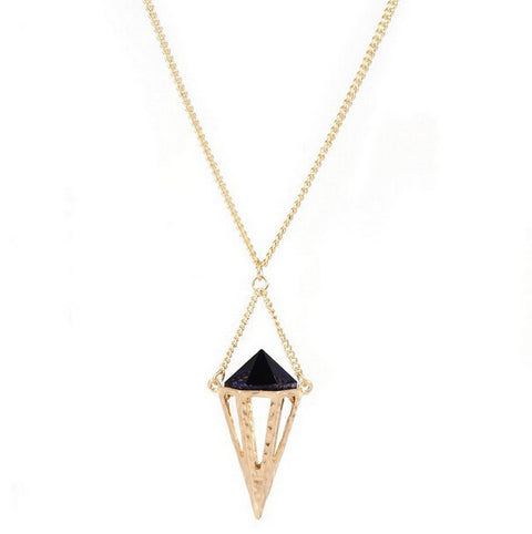 Gold and Black Geometric Textured Pendant Necklace